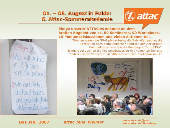01. – 05. August in Fulda: