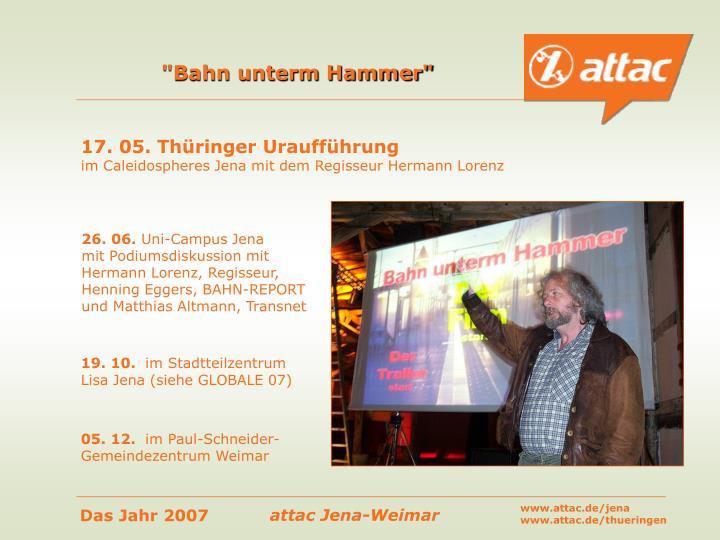 """Bahn unterm Hammer"""