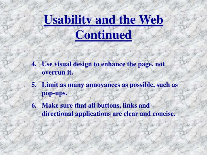 Usability and the Web Continued