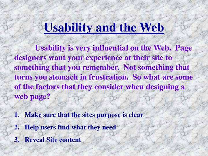 Usability and the Web