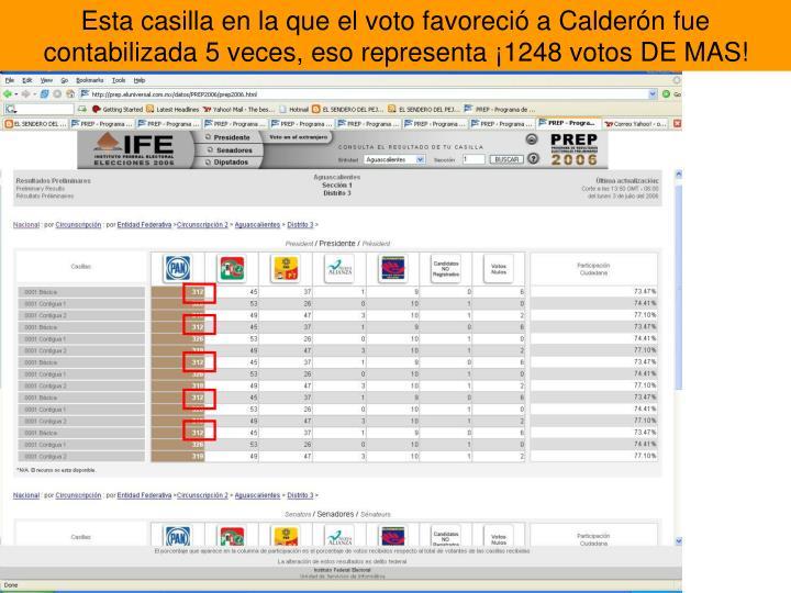 Esta casilla en la que el voto favoreció a Calderón fue contabilizada 5 veces, eso representa ¡1248 votos DE MAS!