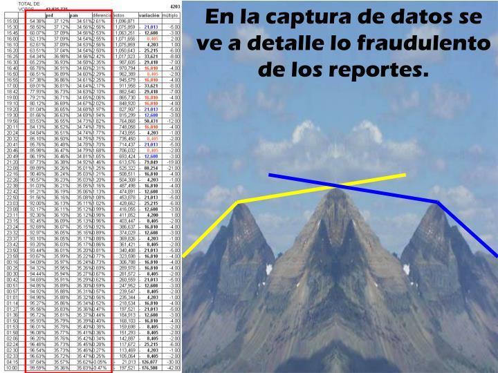En la captura de datos se ve a detalle lo fraudulento de los reportes.