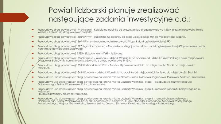 Powiat lidzbarski planuje zrealizować następujące zadania