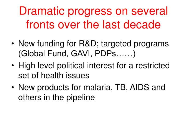 Dramatic progress on several fronts over the last decade
