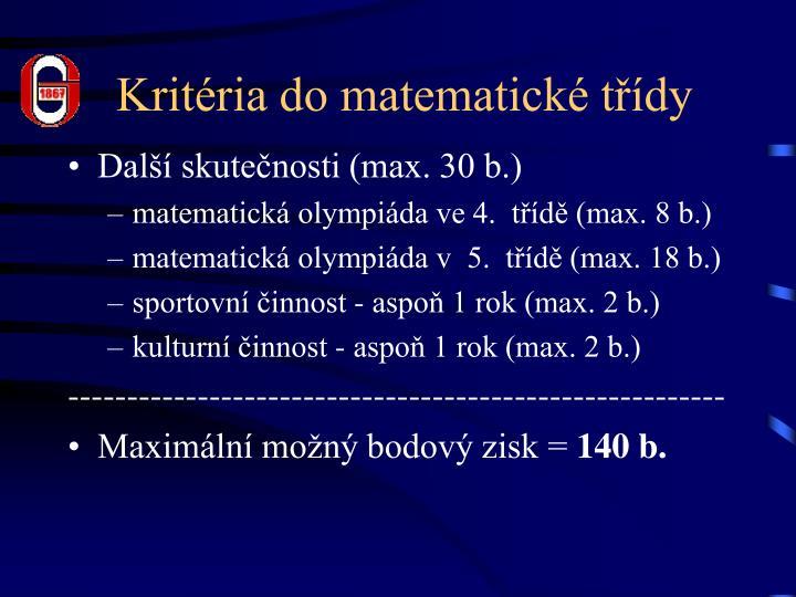 Kritéria do matematické třídy