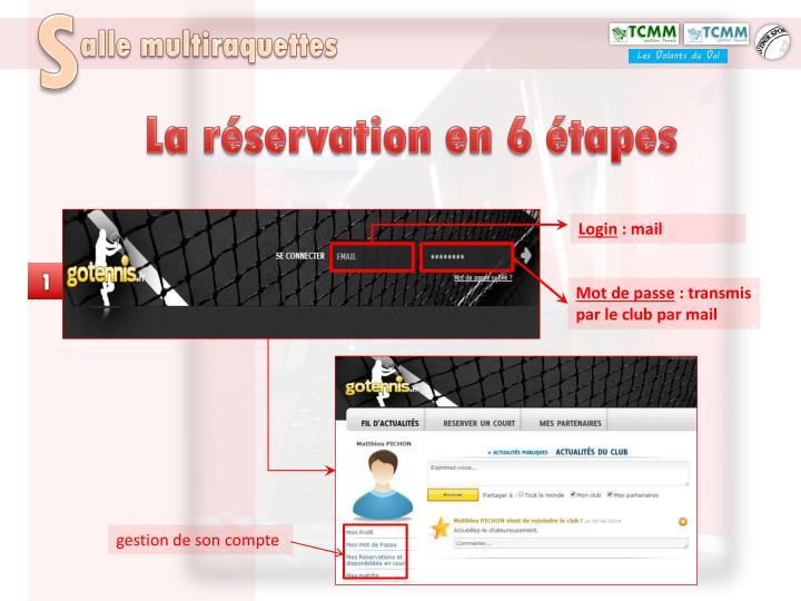 La réservation en 6 étapes