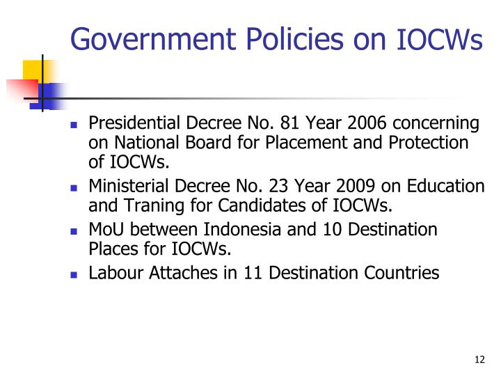 Government Policies on