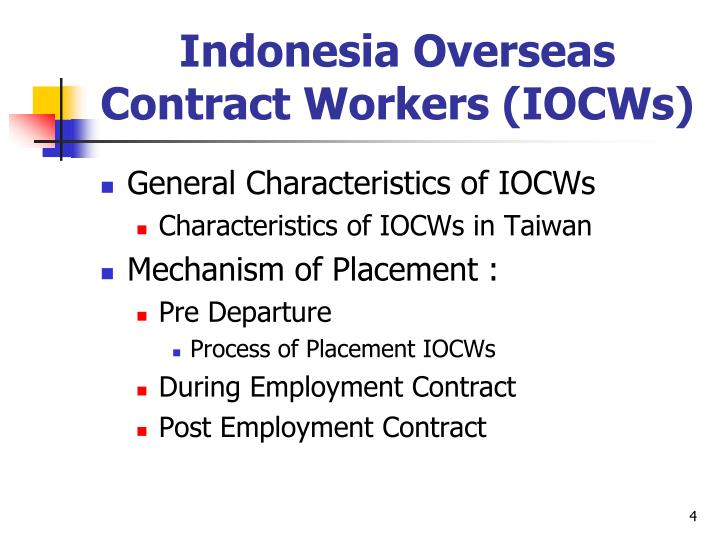 Indonesia Overseas Contract Workers (IOCWs)