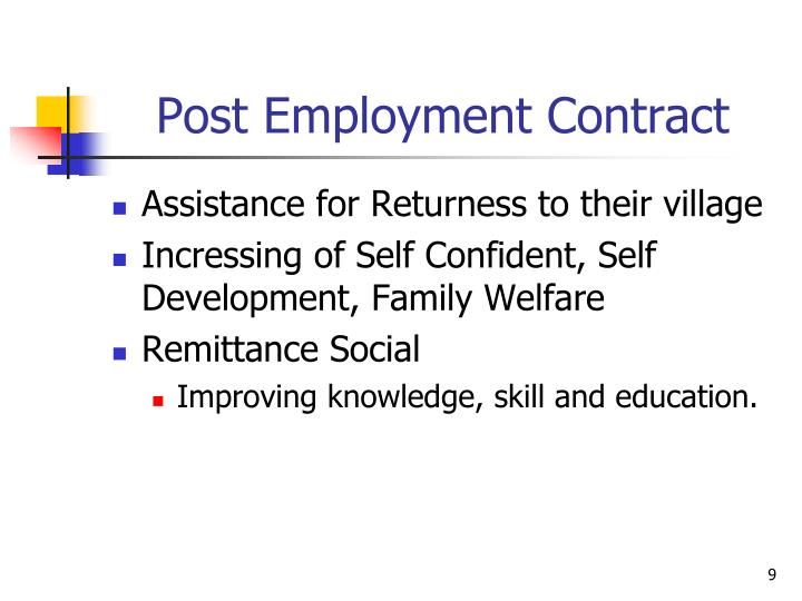 Post Employment Contract