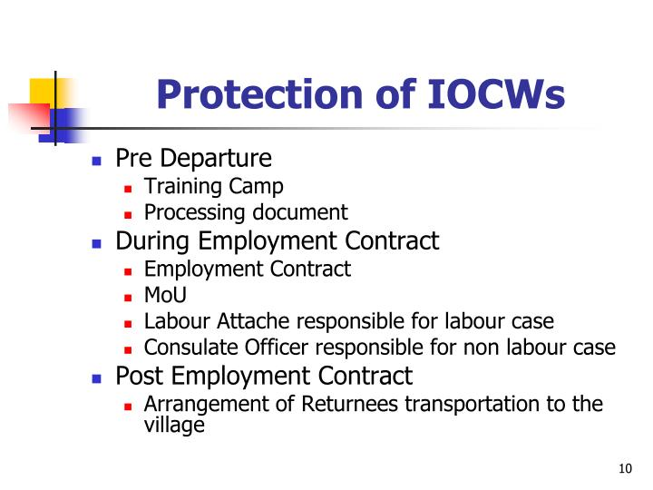 Protection of IOCWs