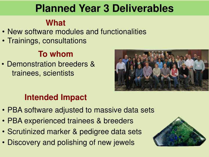 Planned Year 3 Deliverables