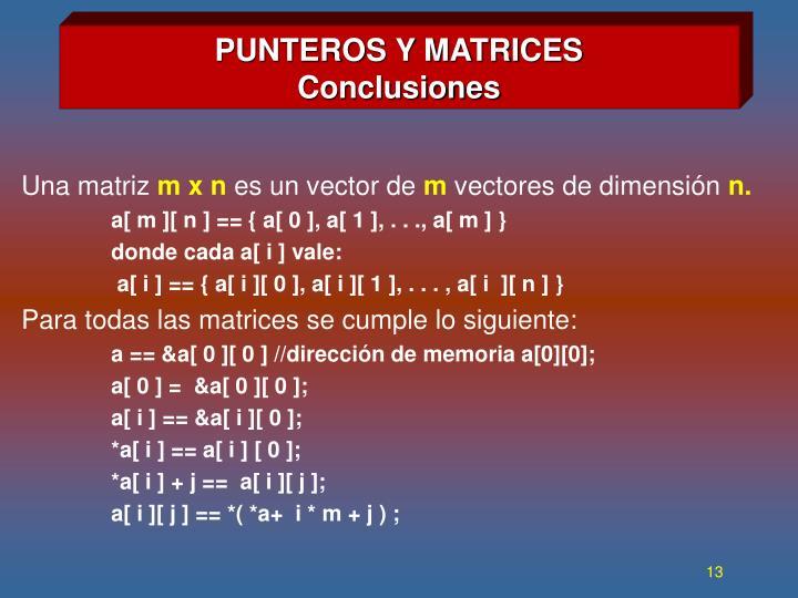 PUNTEROS Y MATRICES