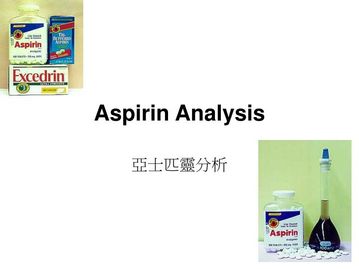 determination of asa content of aspirin Action of aspirin the purpose of this paper is to present the experimental development of a specific method for the determination of asa methods and materials the contents of the tube are hydrolyzed for 4 mm in a forced draft oven at 105#{176},cooled, and 05 ml 6 n hcl and 10 ml ethylene dichloride are added.