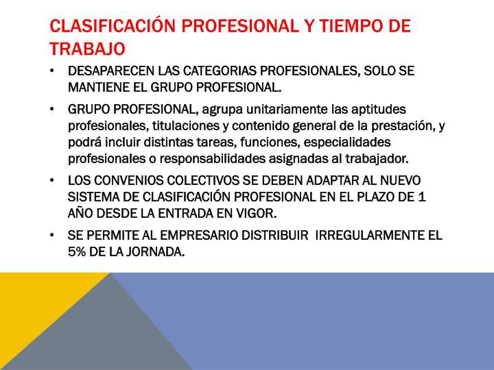Clasificación profesional Y TIEMPO DE TRABAJO