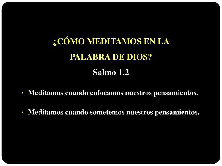 ¿CÓMO MEDITAMOS EN LA                            PALABRA DE DIOS?