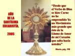 a o de la sant sima eucarist a 2005