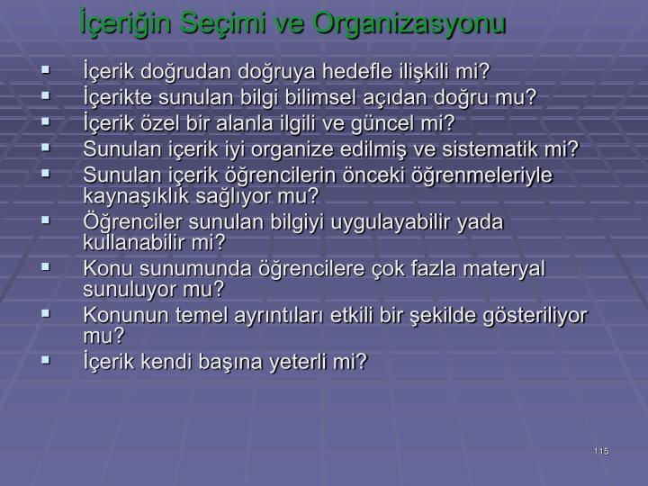 İçeriğin Seçimi ve Organizasyonu