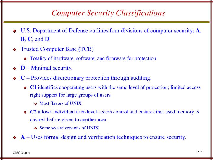 Computer Security Classifications