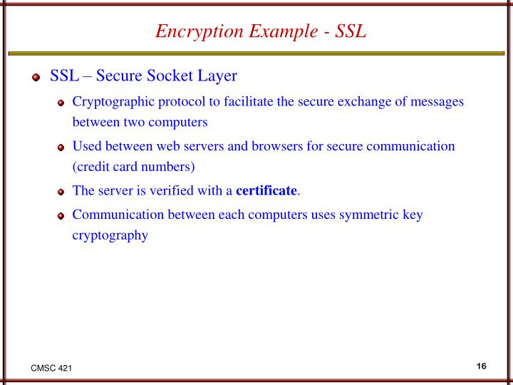 Encryption Example - SSL