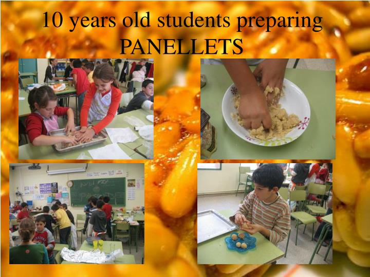 10 years old students preparing PANELLETS