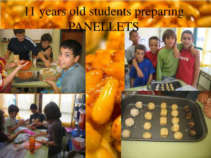 11 years old students preparing PANELLETS