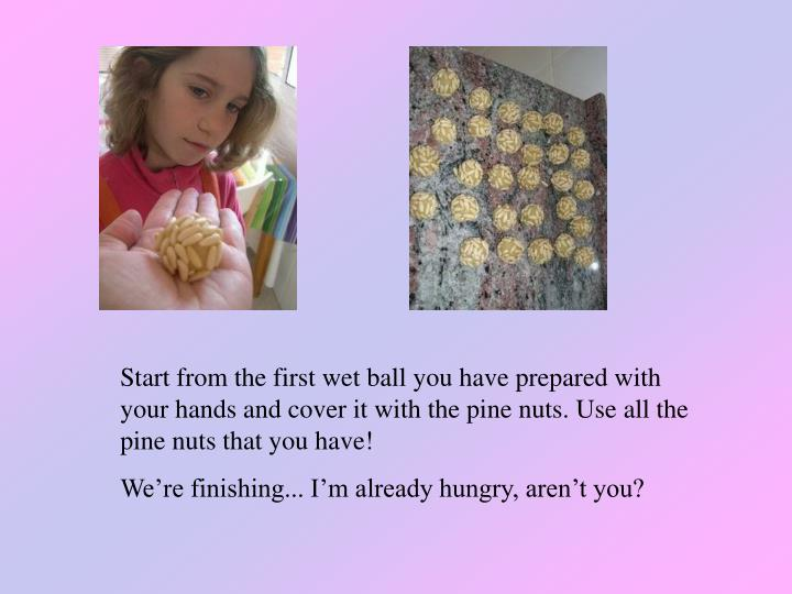 Start from the first wet ball you have prepared with your hands and cover it with the pine nuts. Use all the pine nuts that you have!