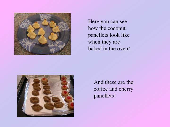 Here you can see how the coconut panellets look like when they are baked in the oven!