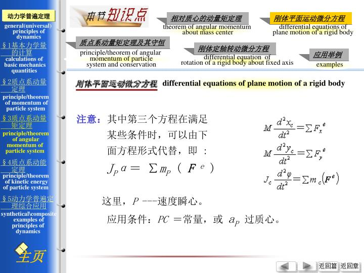 differential equations of plane motion of a rigid body