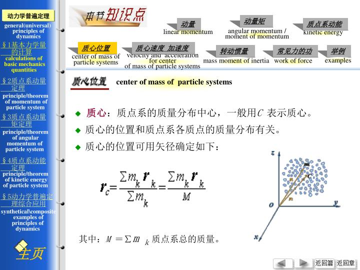 center of mass of  particle systems