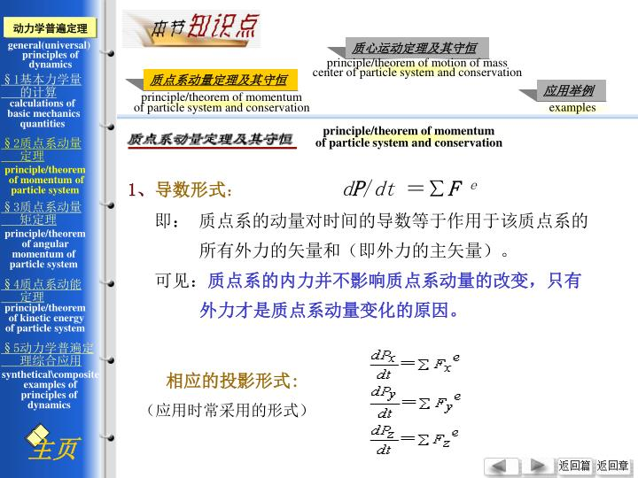 principle/theorem of momentum
