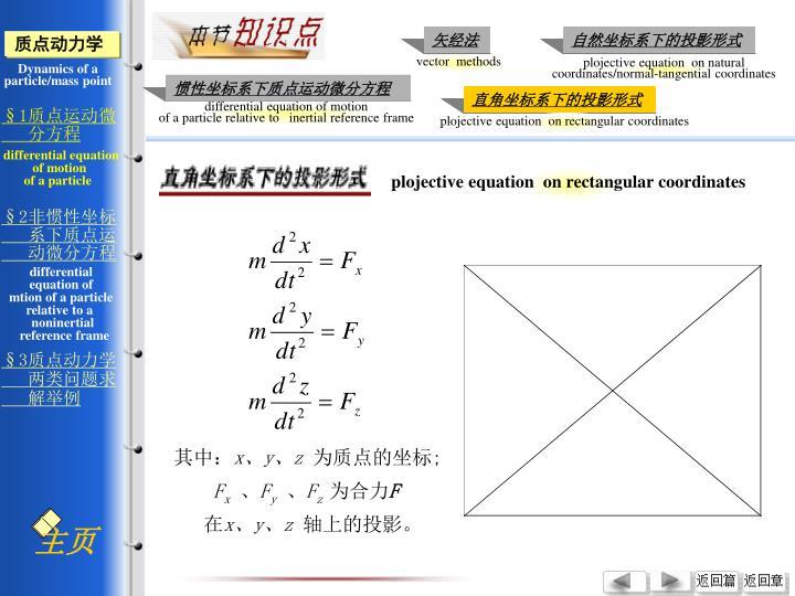 plojective equation  on rectangular coordinates