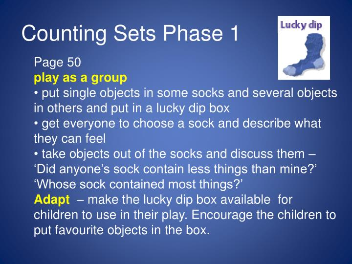 Counting Sets Phase 1
