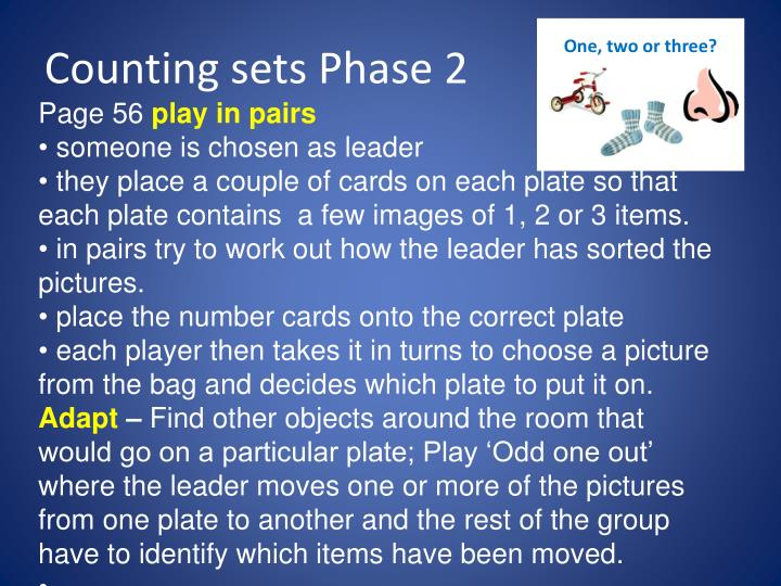 Counting sets Phase 2