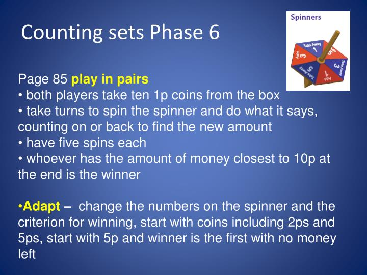 Counting sets Phase 6