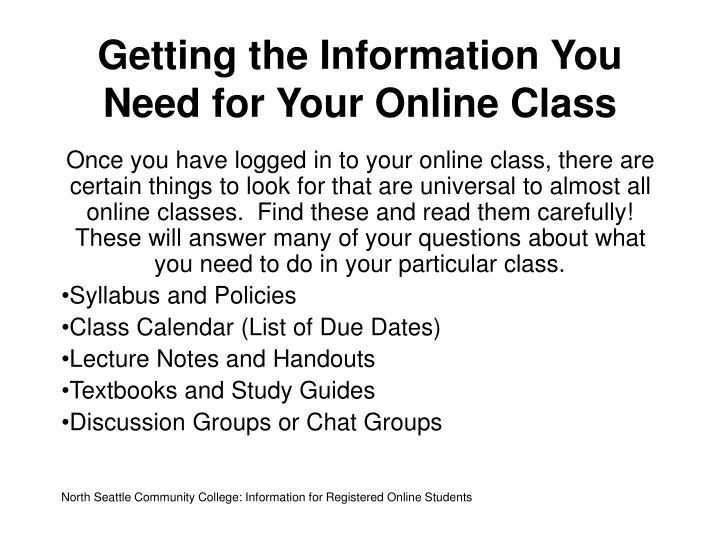 Getting the Information You Need for Your Online Class