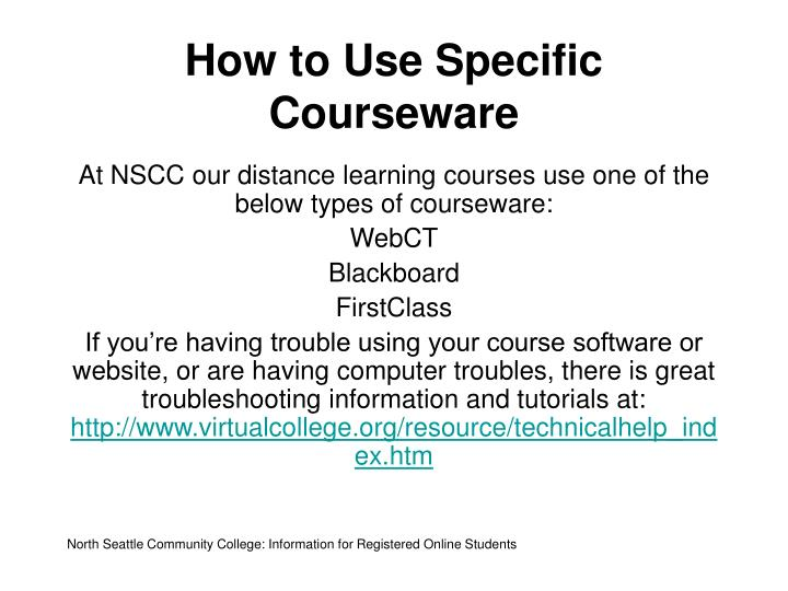 How to Use Specific Courseware