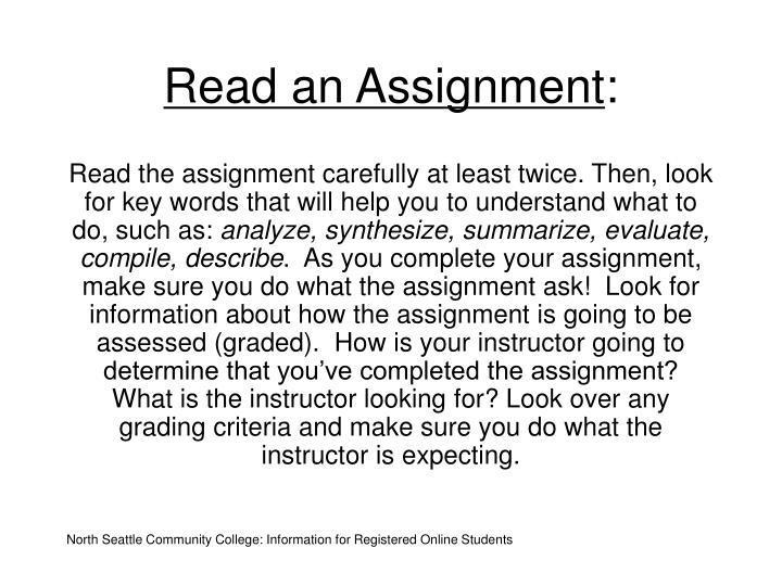 Read an Assignment