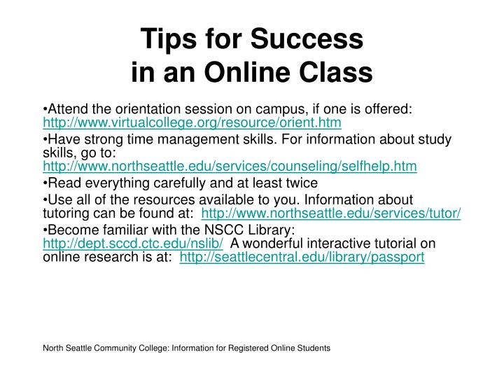 Tips for success in an online class
