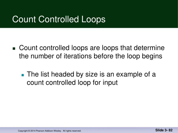 Count Controlled Loops