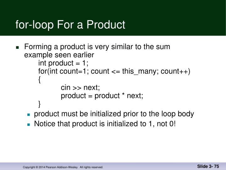 for-loop For a Product
