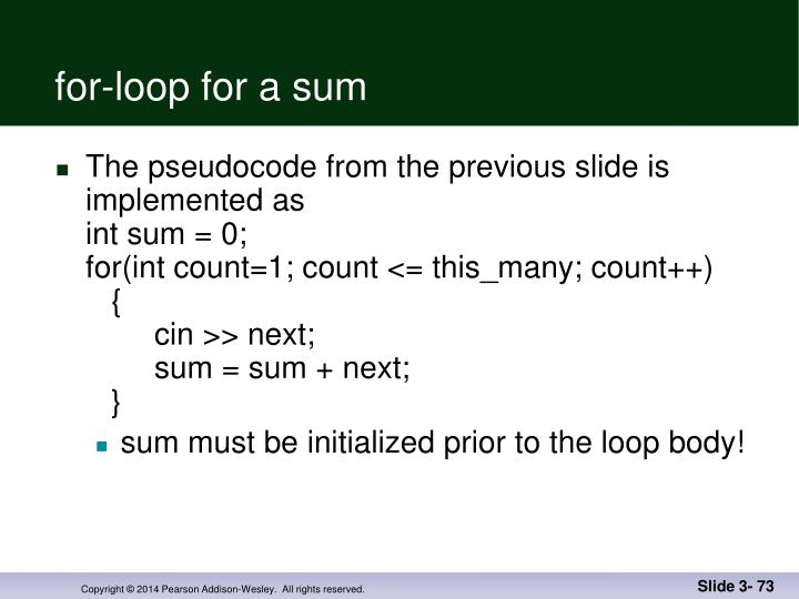 for-loop for a sum