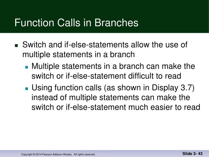 Function Calls in Branches