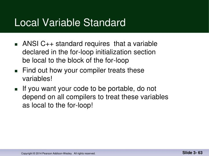 Local Variable Standard