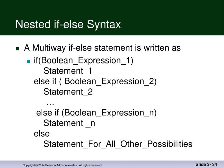 Nested if-else Syntax