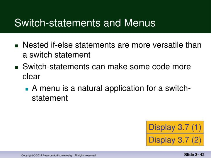 Switch-statements and Menus