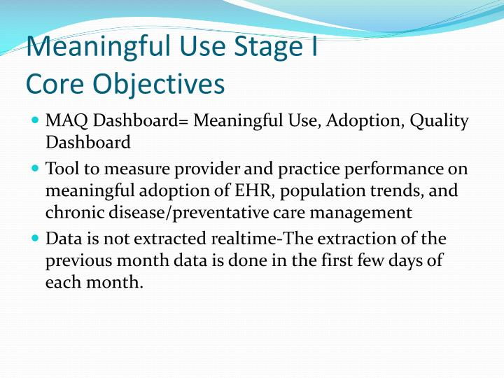 meaningful use stage i core objectives n.