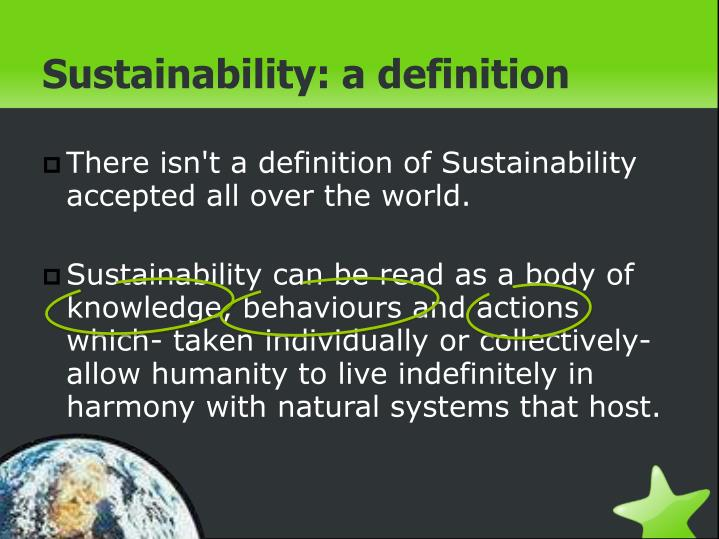 Sustainability: a definition