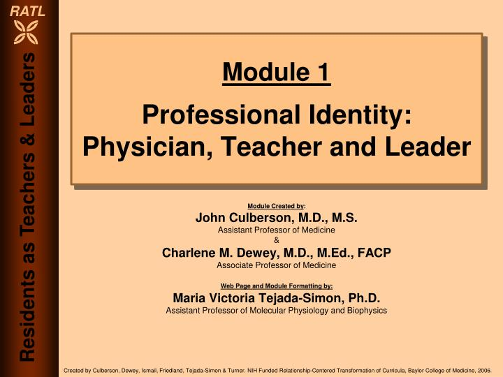 module 1 professional identity physician teacher and leader n.