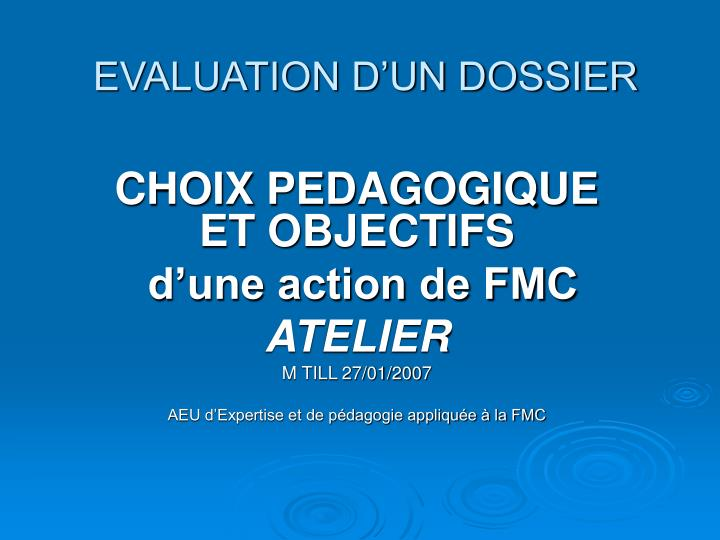evaluation d un dossier n.