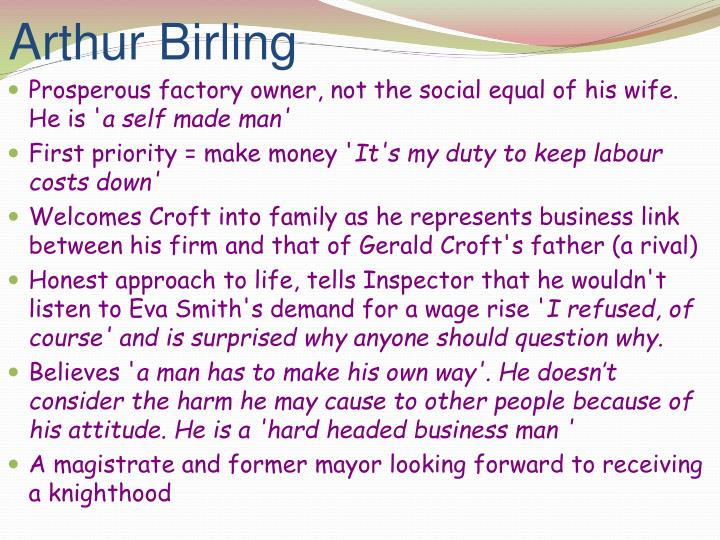 an introduction to the life of eva smith and arthur birling Read this essay on mr birling in inspector calls introduction birling is the following the realization of the part she has played in eva smith's life.